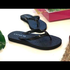 COACH Black Flip Flops Jelly Size 5 NEW